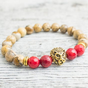 Brown jasper stone and faceted red coral beaded gold Lion head stretchy bracelet, made to order yoga bracelet, mens bracelet,womens bracelet