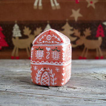 Gingerbread house, gingerbread decor, miniature clay house, Christmas decor, Christmas holiday decoration, cute little house, one of a kind
