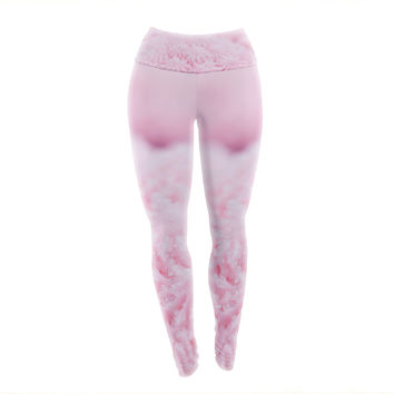 "Debbra Obertanec ""Cupcake Pink"" Sparkle Yoga Leggings"
