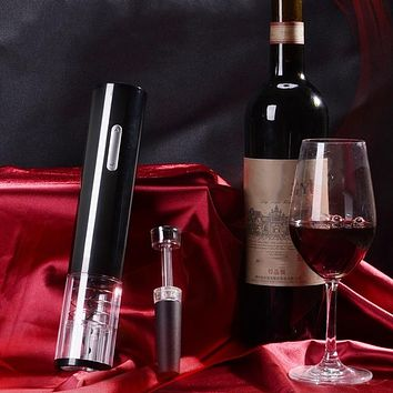 Automatic Electric Cordless Corkscrew Wine Bottle Opener with Free Foil Cutter & Vacuum Stopper