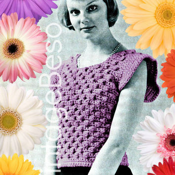 Shrink Top is a 1970s Vintage Crochet Pattern + Free Gift Digital Download Pdf Sexy Little Top Crochet Pattern sizes 8 - 10, sizes 12 - 14