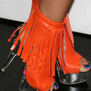 Leather Stripper Ankle Boot Peep Toe Fringe Detail