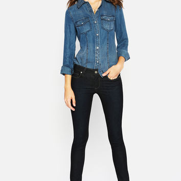 Trouvé Faded Denim Shirt & Paige Stretch Skinny Jeans | Nordstrom