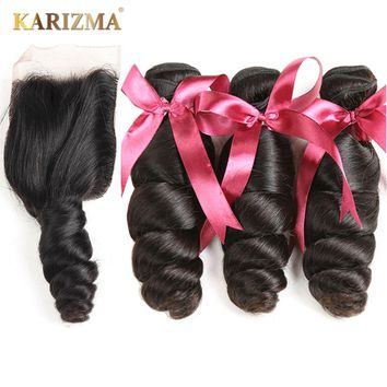 Karizma Brazilian Loose Wave Bundles With Closure 100% Human Hair Weave Bundles 3 Bundles With Closure Free Part Non Remy Hair