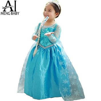 2018 Summer Style Girl Dress Princess Children Halloween Cosplay Costume Blue Sequin Baby Toddler Girls Clothes Vestidos Menina