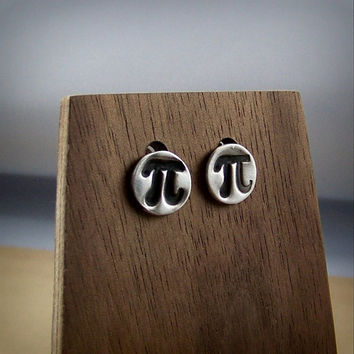 Pi Symbol Earring Studs - Cute Stud Earrings - Math Jewelry - Math Teacher Gift Ideas - Happy Pi Day - Silver Studs - Math Nerd Pi Earrings