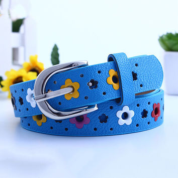 Kids Girl Boys Hollow Cute Butterfly Flowers Lace Belt Casual PU leather Belts Waistban