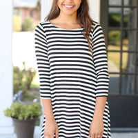 Top of the Line High Low Dress - Black and Ivory