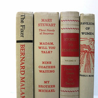 Beige Vintage Books / Book Decor / Decorative Books / Instant Library / Library Filler / Home Decorating / Book Bundle