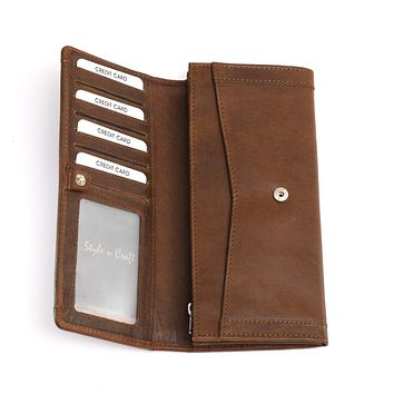 391106 Long Clutch Wallet with Leather Frame in Oak Color | Style n Craft