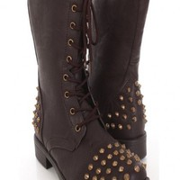 Brown Faux Leather Spike Studded Combat Boots @ Amiclubwear Boots Catalog:women's winter boots,leather thigh high boots,black platform knee high boots,over the knee boots,Go Go boots,cowgirl boots,gladiator boots,womens dress boots,skirt boots,pink boots,