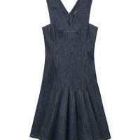 Derek Lam Sleeveless Denim Dress - Flared Dress - ShopBAZAAR