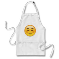 White Smiling Face Emoji Apron