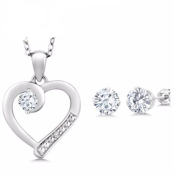 1.60Ct Created Moissanite Accent Diamond 925 Sterling Silver Pendant Earring Set