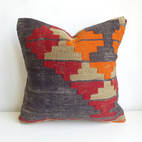 Bohemian kilim throw pillow