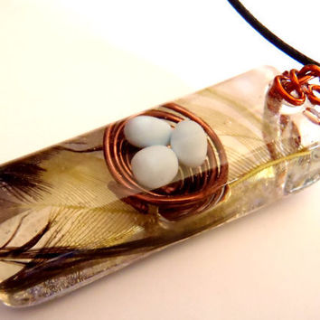 Wire Bird Nest Rooster Feather Nature Pendant Clear Resin Blue Clay Eggs Copper Amber Green Boho Necklace Bohemian Jewelry Long Earth Forest