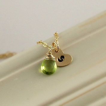 August Birthstone Necklace, Peridot monogram Necklace, Personalized Gift, Birthday Gift For Her, Handstamped Initial Customize