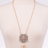 Ornate Octagon Necklace, Turquoise