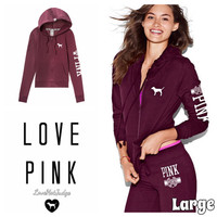 VS PINK FULL ZIP HOODIE LARGE