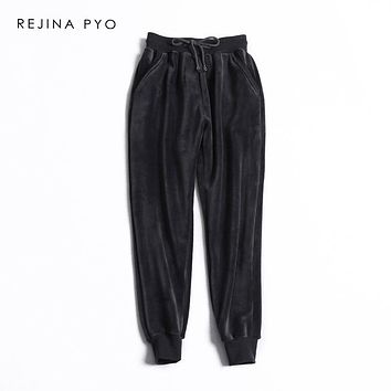 REJINAPYO Women Double-sided Velour Thick Warm Casual Elastic Ankle-Length Pant Womens Fashion Chic Loose All-match Trousers