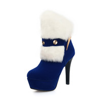 Fur Metal Platform Ankle Boots High Heels Stiletto Heel 9923