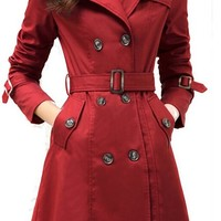 Galsang Women's Slim Double-breasted Wind Coats#bh41 (M, Wine Red)