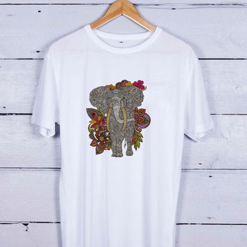 elephant flower Tshirt T-shirt Tees Tee Men Women Unisex Adults
