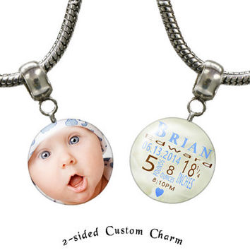 Custom photo charm with birth information of Newborn baby for the new or not so new mom.  Euro-style large hole bracelets: D000249
