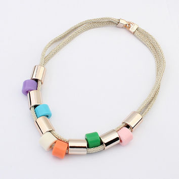 New 2015 Hot Chikers Necklaces Women Jewelry Trends Fashion Bohemia Bead Necklace For Gift Party Wedding