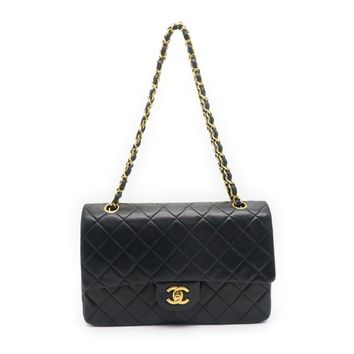 Chanel Chain Double Flap Shoulder Bag Quilted Calfskin Leather Black 0810