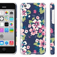 5c case for teen girl, Akna Retro Floral Series**[Vintage Floral Pattern]**[Glossy Snap On]**[Lovely Girl Case] Back Case for iPhone 5C - [Vintage Blue]