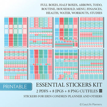 Planner Stickers Printable Full Box Erin Condren Sticker Cutfile Full Weekly Colorful Sticker ECLP Decorative Stickers. Instant Download.