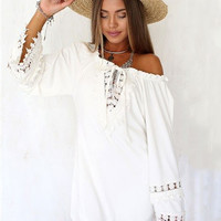 White Lace Stitching  Long Sleeve V-neck Summer Open Back Mini Dress