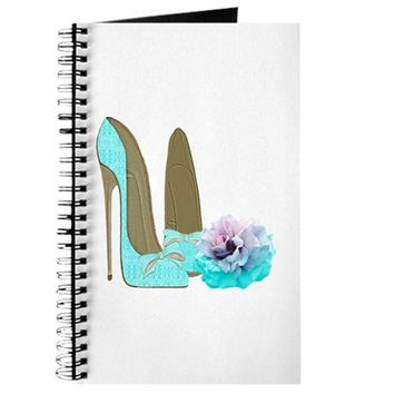 TURQUOISE LACE STILETTOS AND ROSE ART JOURNAL