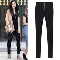 Zipper Front Pleat Pencil Pants