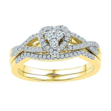 10k Gold Women's Round Diamond Heart Cluster Wedding Ring Set - FREE Shipping (US/CA)