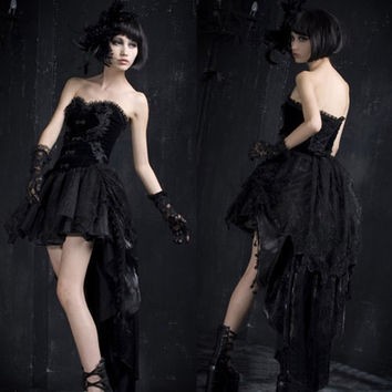 Black Gothic Victorian Vampire Strapless Tea Length Corset Wedding Dresses SKU-11402068