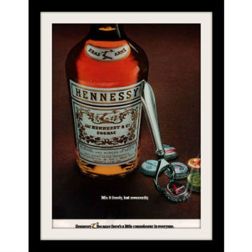 """1972 Hennessy Cognac Ad """"Mixed Freely: Bottle Caps"""" Vintage Advertisement Print"""