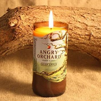 Beer Bottle Candle Upcycled from Angry Orchard Beer Bottle, Highly Scented Unique Candle