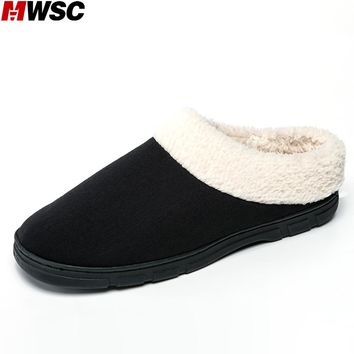 MWSC Winter New Men's Warm Room Slippers Short Plush Inside Durable Fashion Basic Casual Indoor Fleece Home Slippers Shoes