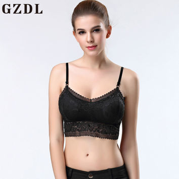 GZDL Sexy Ladies Fitness Racerback Bustier Crop Top Cami Padded Tank Tops Casual Women's Lace Floral Crochet Bralet Bra NY328