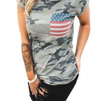Camouflage American Flag Pocket Short Sleeve T-shirt