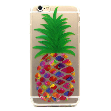 """Hawaiian Pineapple Jewel Colors Clear Soft Silicone Case Cover For iPhone 6 6s 4.7"""""""
