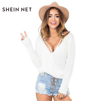 Sheinnet Preppy Knitted Sweater Sweet Cute Brief Pullover Sweater Women Clothing Autumn Casual Loose Female Sweater