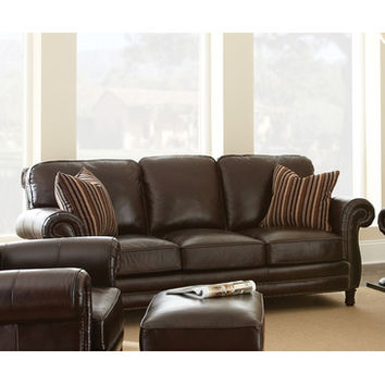 Steve Silver Chateau Sofa in Antique Chocolate Brown Leather
