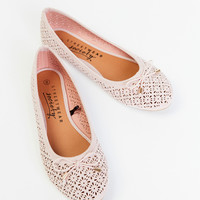 FAUX SUEDE PERFORATED BOW FLAT