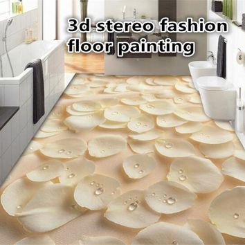 beibehang 3d flooring papel de parede 3D fashion picture rose petals dew drawing floor brick tile wallpaper for walls 3 d tapety