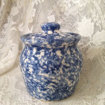 Roseville Pottery Sugar Bowl Honey Pot Lidded Blue Spongewear Cobalt Ohio USA Vintage Stonewear 1980s