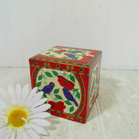 Folk Art Hand Painted Black Lacquered Square Wooden Box - Vintage Handcrafted Primitive Petite Chippy Cubicle Inspired Design Trinket Chest