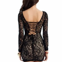 lace overlay lace-up dress $33.40 in BLACKTAUPE - Dressy | GoJane.com